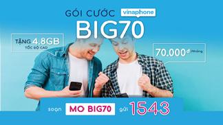 Cùm tìm hiểu ngay cách đăng ký gói Big70 Vinaphone 70k/tháng có 4,8GB